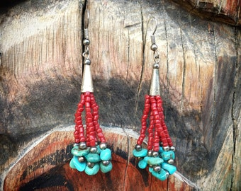 Turquoise Chip and Coral Color Seed Bead Earrings, Southwest Native America Indian Style Jewelry