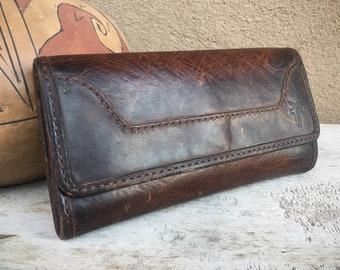Frye Fold Over Tri-Fold Wallet of Genuine Dark Leather, Hippie Wallet Clutch Purse