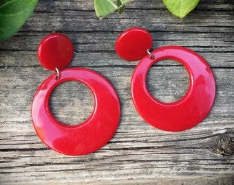 1980s Red Hoop Earrings for Women Plastic or Lucite Lipstick Red Jewelry, Mod Earrings