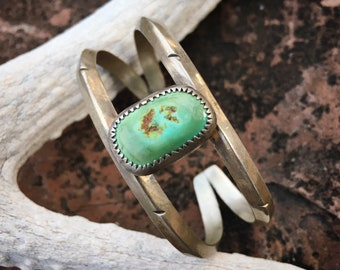 Two Wire Shank Natural Green Turquoise Silver Bracelet for Women, Native American Indian Jewelry, December Birthstone Birthday Gift for Her