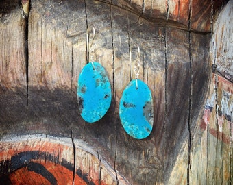 Thin Slab Turquoise Earrings Native American Indian Jewelry, Santo Domingo Pueblo New Mexico Gifts