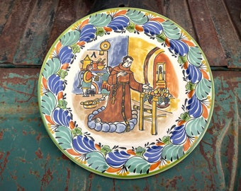 """12"""" Diameter Vintage San Pascual Wall Plate by Mexican Master Gorky Gonzales, Talavera Pottery"""