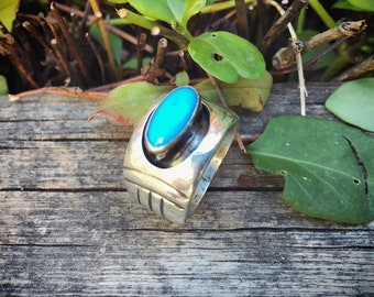 Size 8.75 Turquoise Sterling Silver Cigar Band Ring for Women or Men, Southwestern Jewelrr