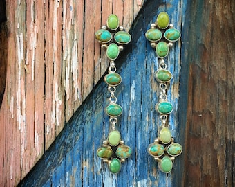 Cluster Chandelier Turquoise Earrings Sterling Silver Anniversary Gift, Signed Navajo Native America Indian Jewelry, Real Turquoise Jewelry