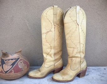 Vintage Tan Leather Cowboy Boots Women Size 5.5 Acme Cowgirl Boots, Western Boots for Women