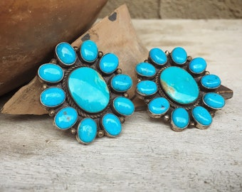 Huge Turquoise Cluster Earrings Signed Navajo Jewelry, Native American Indian Jewelry