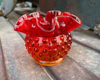 Vintage Fenton Amberina Hobnail Glass Small Vase with Ruffled Rim, Collection, Vintage 1940s Kitchen Decor
