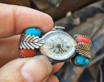Rare Navajo Watch Ring for Women Size 9 with Non Working Wind-up Watch, Vintage Turquoise Coral Native America Indian Jewelry Old Pawn