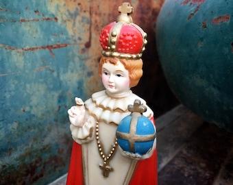 Vintage Plastic Infant of Prague Holy Child Figurine, Religious Saint, Catholic Gift, Kitschy Decor