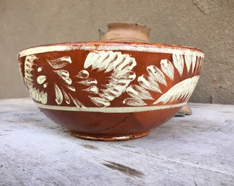 Vintage Tlaquepaque Bandera Pottery Bowl from Mexico, Old Mexican Decorative Redware Collectible
