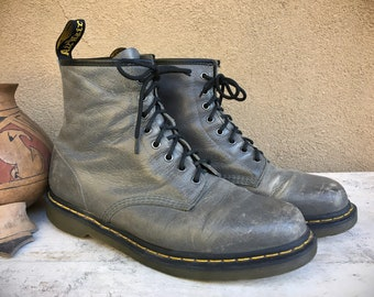 Vintage Well-Worn Dr Martens Gray Lace-Up Ankle Boots UK Size 12 (US Men's Size 13), Punk Rocker Combat Boots Grunge Fashion Motorcycle