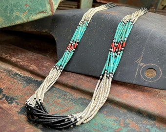 1970s Santo Domingo (Kewa) Ten Strand Turquoise Shell Onyx Heishi Necklace, Native American