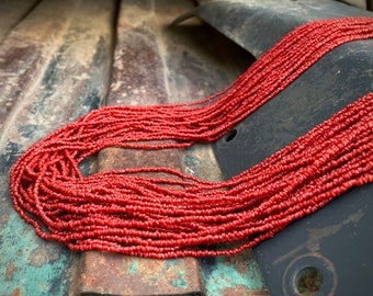 """Vintage 30-Strand Red Coral Colored Seed Bead Moroccan Necklace 31"""", Berber Tribe Ethnic Jewelry"""