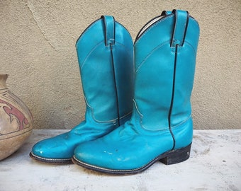 Vintage Distressed Blue Cowboy Boots Women's Size 7.5 M (Run Small) Roper Style Cowgirl Boot