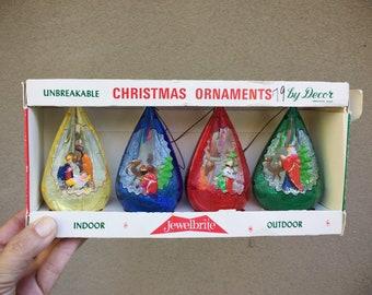 Boxed Set of 4 Vintage Jewel Brite Plastic Christmas Ornaments 3D Diorama Nativity Scene 3 Wise Men