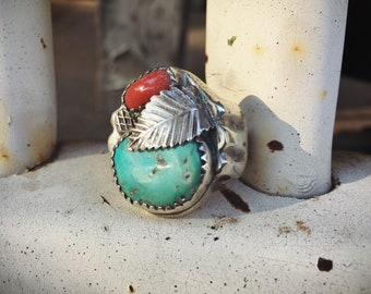 Heavy Turquoise Ring for Men Size 11 Natural Turquoise and Coral, Vintage Men's Ring