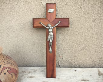 Wall Crucifix Religious Home Decor, Wooden Crucifix Wall Hanging, Christ on Cross, Easter Decor, Christian Icon, Gift for Catholic Devotion