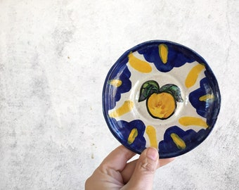 Small Vintage Talavera Plate for Trinkets Blue Yellow White, Lemon Gifts for Neighbor