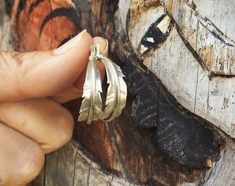 Southwestern Sterling Silver Feather Half Hoop Earrings of Native American Indian Jewelry