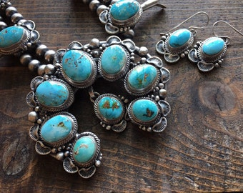 318g Signed Navajo Thomas Francisco Squash Blossom Necklace and Earrings for Women, Native American Indian Jewelry Set