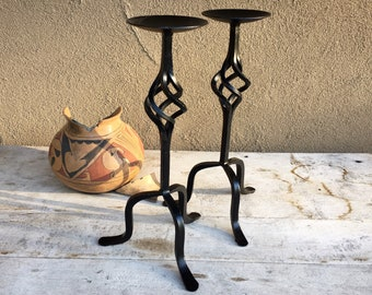 Pair of Metal Table Top Candle Holders, Southwestern Home Decor Spanish, Rustic Candle Centerpiece