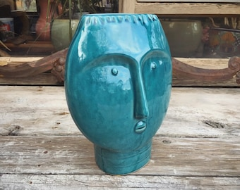 Mid Century Modern Art Pottery Face Vase Blue Decor, Vintage Ceramic Head Sculpture Style of Cloutier