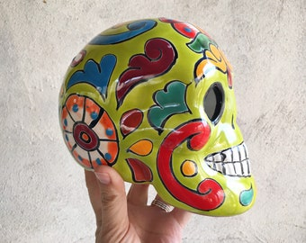 Talavera Calavera Pottery Skull Sculpture Day of the Dead, Mexican Folk Art Lime Green
