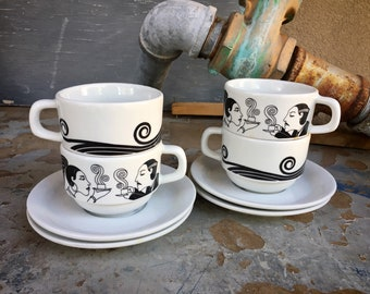 Set of Four Art Deco Flapper and Mustached Man Demitasse Cups and Saucers Made in Brazil