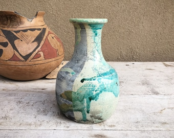 Vintage Art Studio Pottery Vase with Teal Blue Crackle Glaze Hand Thrown Ceramic Texture Pot, Gift for Mom Parents Couple Dad, Natural Decor