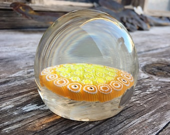 Midcentury Fratelli Toso Paperweight with Yellow Orange Millefiori Design, Italian Art Glass