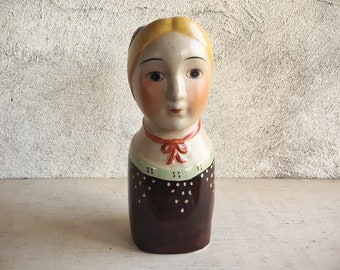 Vintage Ceramic Lady Head Vase Scandinavian Folk Art Lady Head Gemma Taccogna Style
