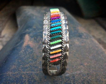 Multicolor Multi Stone Turquoise Needlepoint Cuff Bracelet, Vintage Navajo Zuni Native America Jewelry