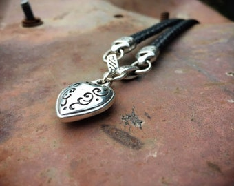 Vintage Sterling Silver Puffy Heart on Leather Lariat Necklace for Young Woman, Heart Charm Jewelry