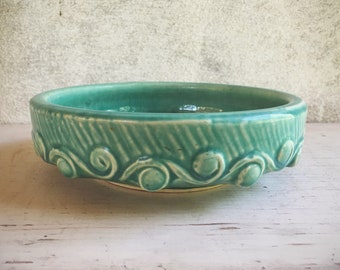 1940s McCoy Pottery Aqua Wave Pattern Planter Bowl, Collectible Art Pottery, Bulb Planter