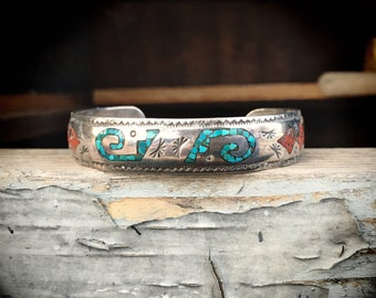 Crushed Turquiose and Coral Bracelet for Women or Men, Navajo Native American Indian Jewelry