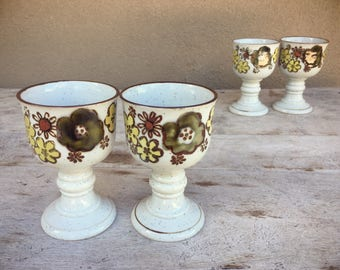 Set of two vintage stoneware goblets midcentury drinkware ceramic chalices