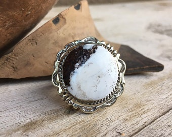 Heavy Sterling Silver Round White Turquoise Stone Ring Size 6.75, Navajo Native America Indian Jewelry