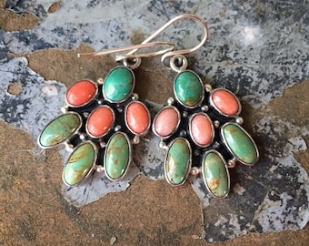 Green Turquoise Pink Mussel Shell Cluster Earrings for Women, Navajo Native America Indian Jewelry