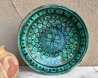 """Vintage 13"""" Islamic Pottery Plate Bowl Turquoise Glaze Decorative Wall Hanging, Rustic Home Decor"""