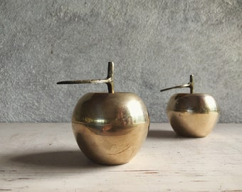 Two Brass Apple Trinket Boxes Affordable Gift for Teacher, Apple Gift, Small Holder Container