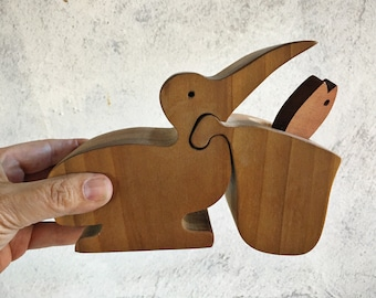 Vintage Carved Wooden Toy Pelican with Fish Modern Decor, Handmade and Crafted Beach Bird Puzzle