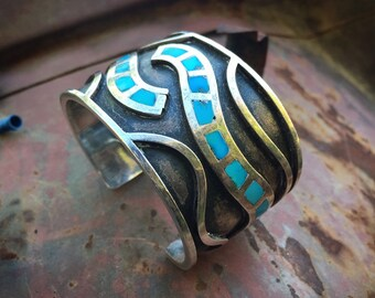 84g Heavy Sterling Silver Turquoise Inlay Cuff Bracelet for Women Men, Native American Indian Jewelry
