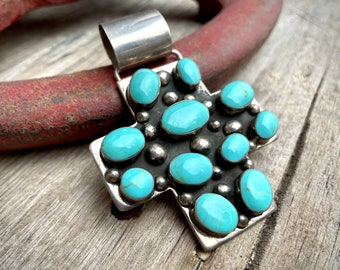 Large Vintage Mexican 925 Sterling Silver Turquoise Stone Cross Pendant (Bale Bent), Christian Gift
