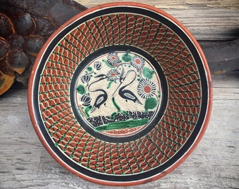 Vintage Mexican Pottery Bowl by Master Potter Jose Bernabe, Redware Folk Art, Southwestern Kitchen