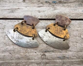 Vintage Mixed Metal Chandelier Earrings Marjorie Baer San Francisco, Copper Brass Silver Jewelry for Women