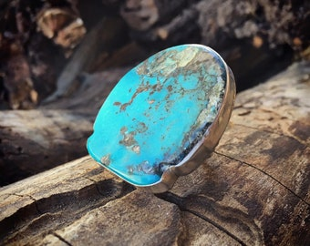 HUGE Turquoise Ring Size 10.5 for Men or Women, Southwestern Turquoise Statement Ring