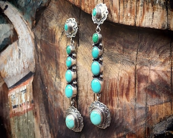 Long Turquoise Earrings for Women Signed Navajo Jewelry, Native American Indian Jewelry