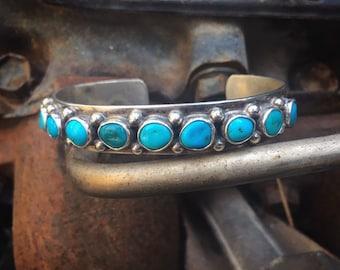29g Turquoise Cuff Bracelet Navajo Jewelry Row Bracelet, Old Pawn Turquoise Jewelry