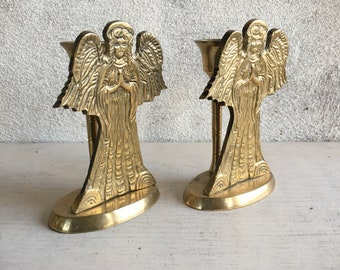 Pair of Brass Angel Candle Holders, Christmas Decorations, Holiday Tabletop Centerpiece Decor, Winged Cherub Gifts
