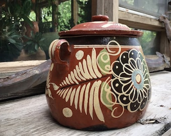Vintage Tlaquepaque Pottery Lidded Bean Pot Old Mexico Redware Covered Bowl, Mexican Decor